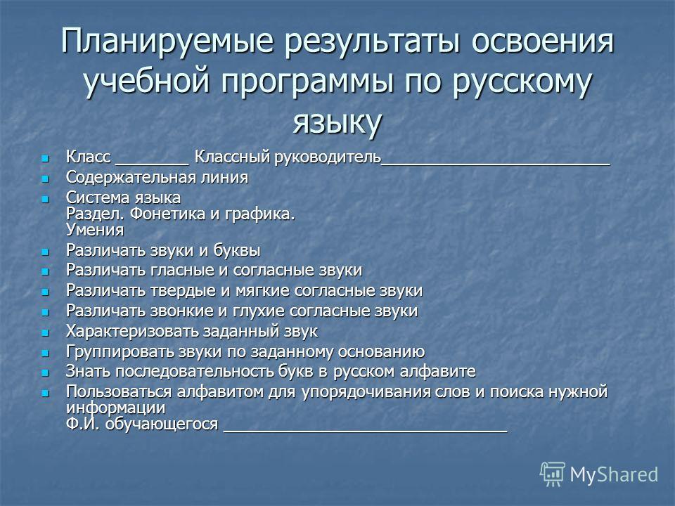 Планируемые результаты освоения учебной программы по русскому языку Класс ________ Классный руководитель_________________________ Класс ________ Классный руководитель_________________________ Содержательная линия Содержательная линия Система языка Ра
