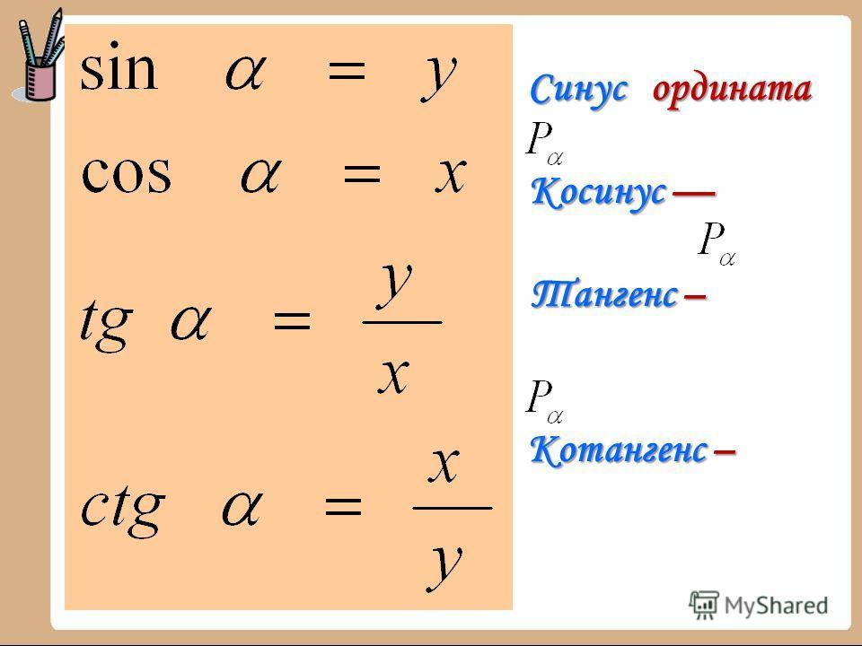 Синус ордината Синус ордината Косинус Косинус Тангенс – Тангенс – Котангенс – Котангенс –