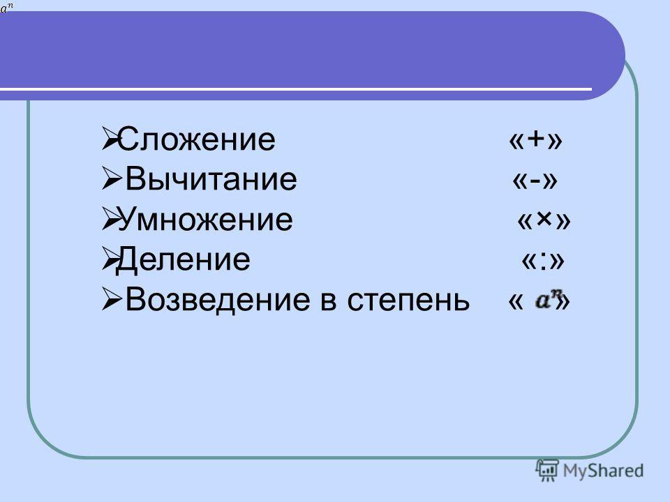Сложение «+» Вычитание «-» Умножение «×» Деление «:» Возведение в степень « »