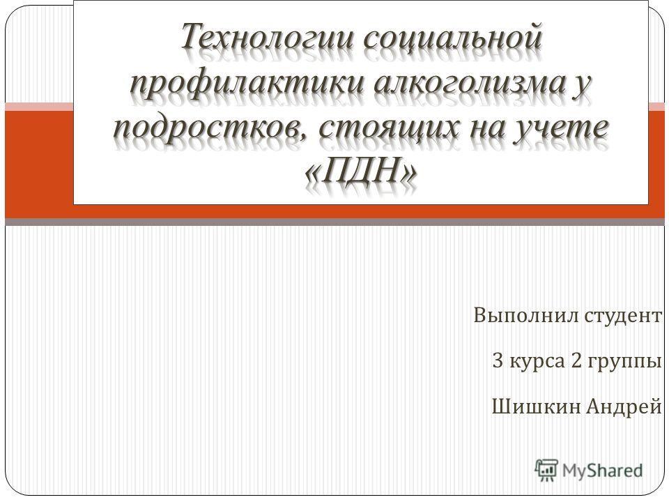 Выполнил студент 3 курса 2 группы Шишкин Андрей