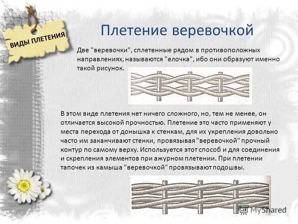 Плетение веревочкой Две