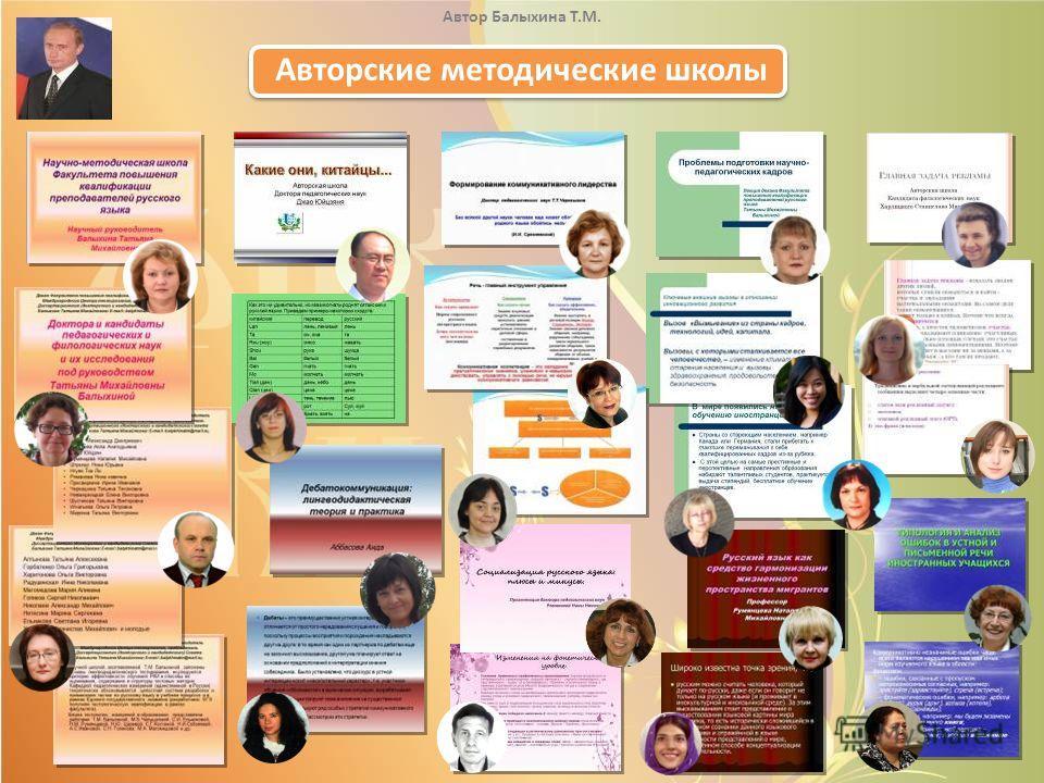 Авторские методические школы Автор Балыхина Т.М.