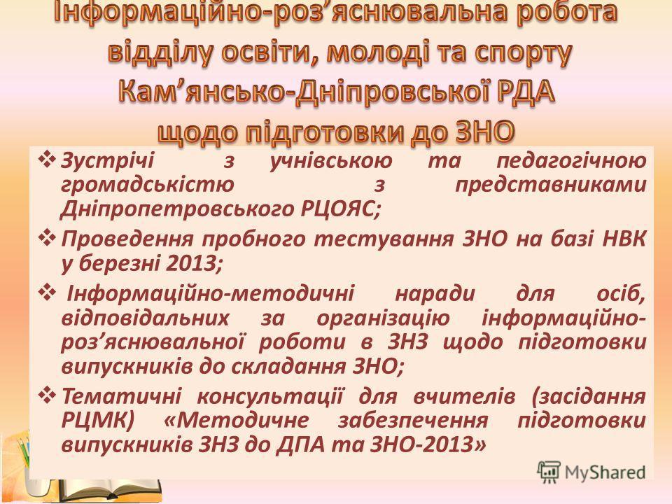 Зустрічі з учнівською та педагогічною громадськістю з представниками Дніпропетровського РЦОЯС; Проведення пробного тестування ЗНО на базі НВК у березні 2013; Інформаційно-методичні наради для осіб, відповідальних за організацію інформаційно- розяснюв
