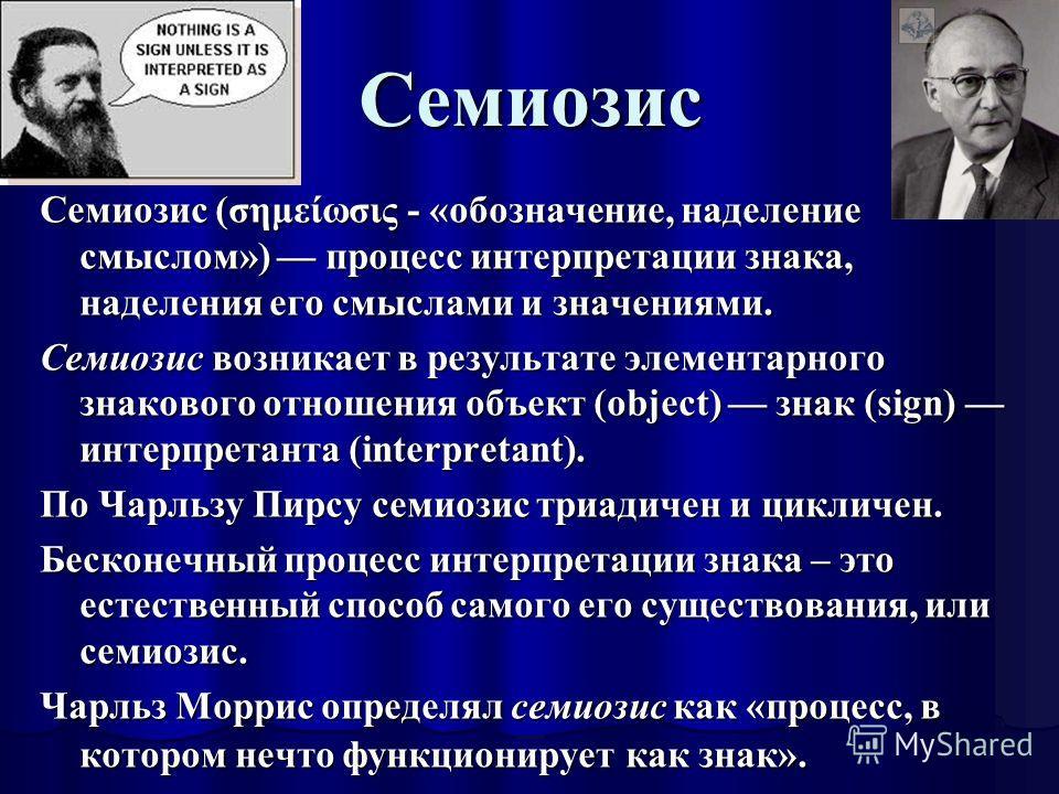 Семиозис Семиозис (σημείωσις - «обозначение, наделение смыслом») процесс интерпретации знака, наделения его смыслами и значениями. Семиозис возникает в результате элементарного знакового отношения объект (object) знак (sign) интерпретанта (interpreta