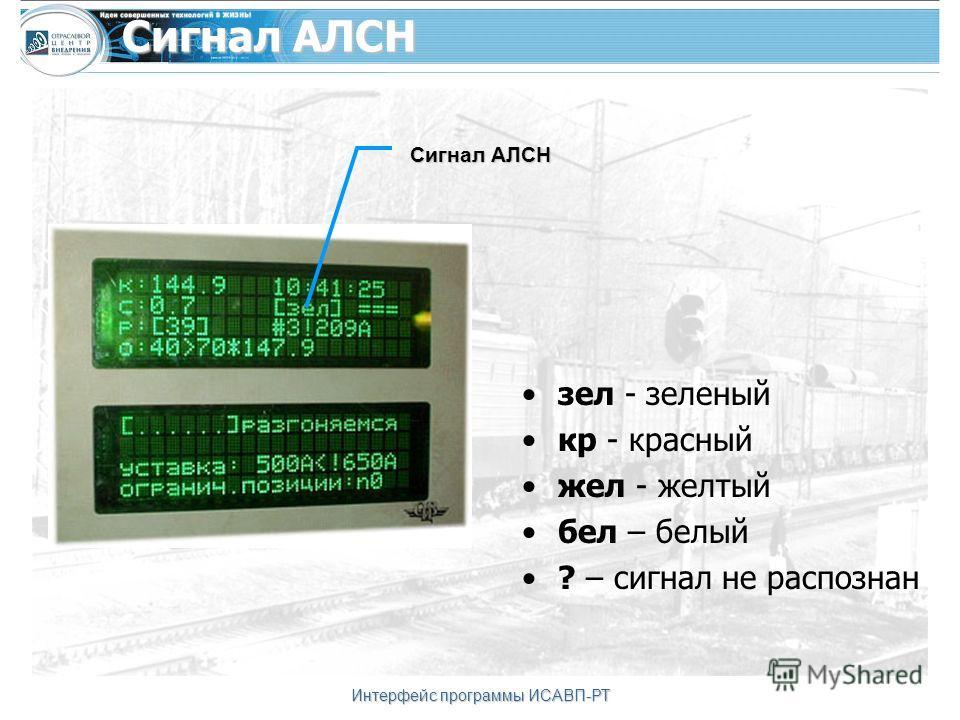 Интерфейс программы ИСАВП-РТ Сигнал АЛСН зел - зеленый кр - красный жел - желтый бел – белый ? – сигнал не распознан Сигнал АЛСН
