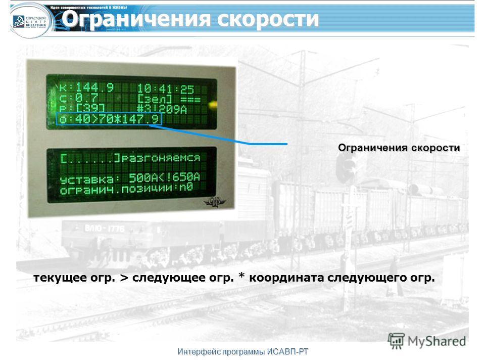 Интерфейс программы ИСАВП-РТ Ограничения скорости текущее огр. > следующее огр. * координата следующего огр. Ограничения скорости