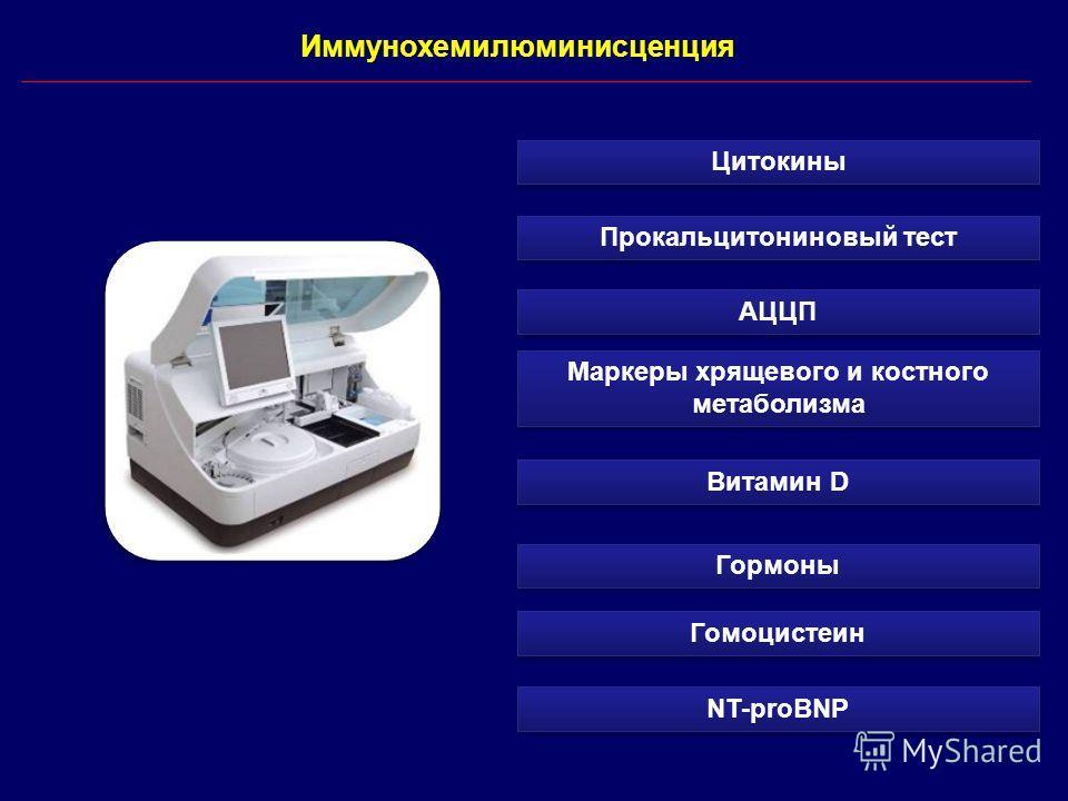 Иммунохемилюминисценция АЦЦП Витамин D Маркеры хрящевого и костного метаболизма Гормоны Прокальцитониновый тест Гомоцистеин NT-proBNP Цитокины