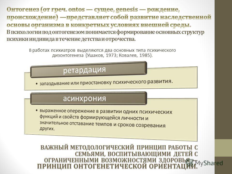 В работах психиатров выделяются два основных типа психического дизонтогенеза (Ушаков, 1973; Ковалев, 1985). ВАЖНЫЙ МЕТОДОЛОГИЧЕСКИЙ ПРИНЦИП РАБОТЫ С СЕМЬЯМИ, ВОСПИТЫВАЮЩИМИ ДЕТЕЙ С ОГРАНИЧЕННЫМИ ВОЗМОЖНОСТЯМИ ЗДОРОВЬЯ ПРИНЦИП ОНТОГЕНЕТИЧЕСКОЙ ОРИЕНТА