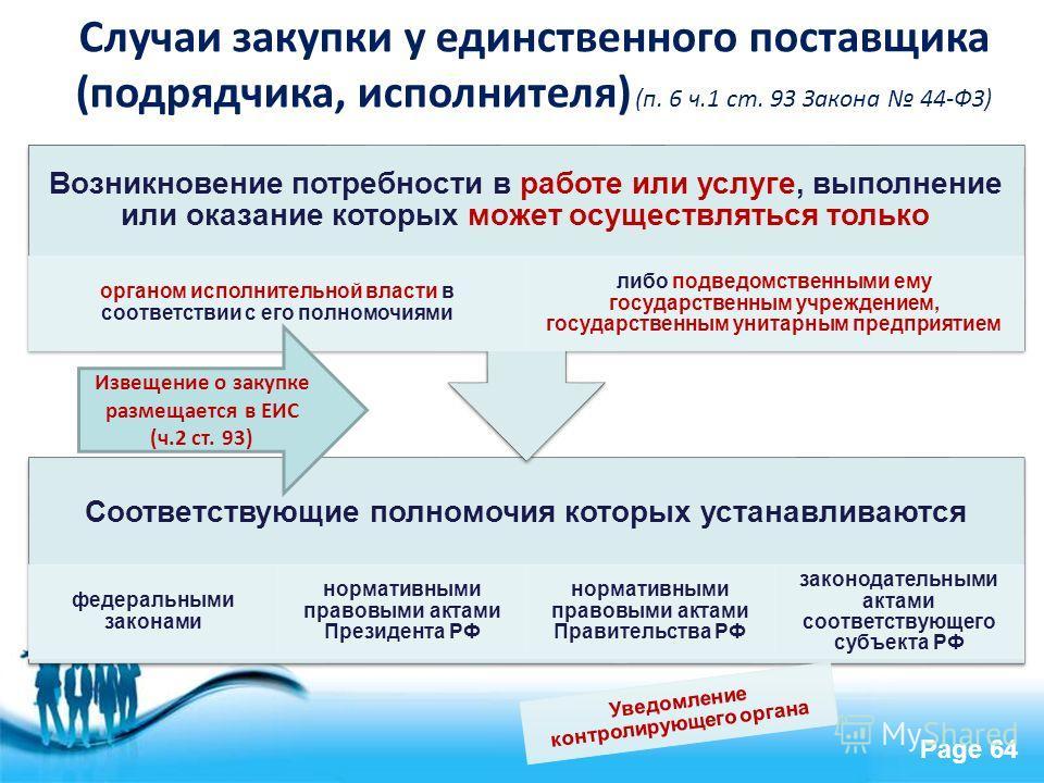 Free Powerpoint Templates Page 64 Случаи закупки у единственного поставщика (подрядчика, исполнителя) (п. 6 ч.1 ст. 93 Закона 44-ФЗ) Соответствующие полномочия которых устанавливаются федеральными законами нормативными правовыми актами Президента РФ