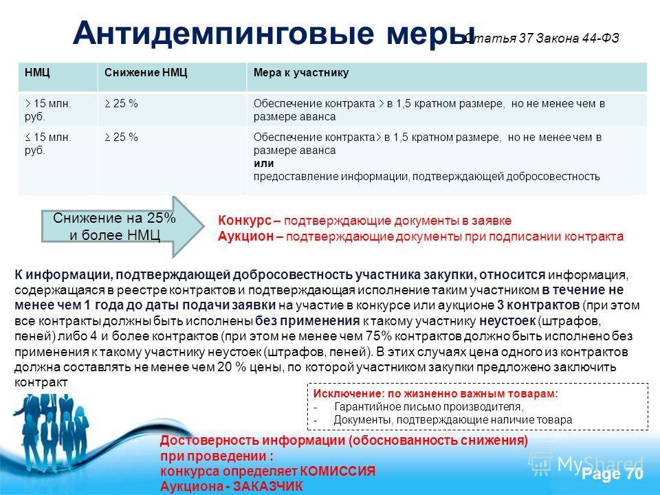 Free Powerpoint Templates Page 70 К информации, подтверждающей добросовестность участника закупки, относится информация, содержащаяся в реестре контрактов и подтверждающая исполнение таким участником в течение не менее чем 1 года до даты подачи заявк