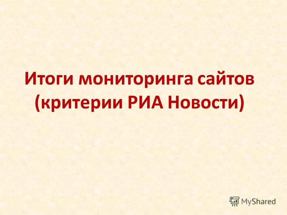 Итоги мониторинга сайтов (критерии РИА Новости)