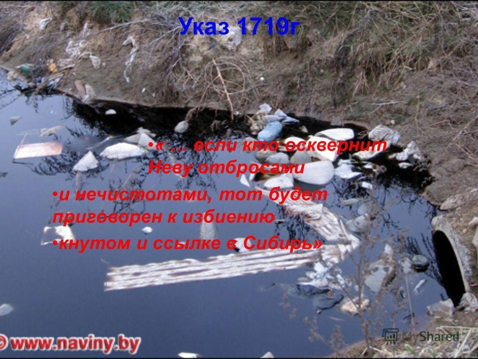 Указ 1719г « … если кто осквернит Неву отбросами и нечистотами, тот будет приговорен к избиению кнутом и ссылке в Сибирь»
