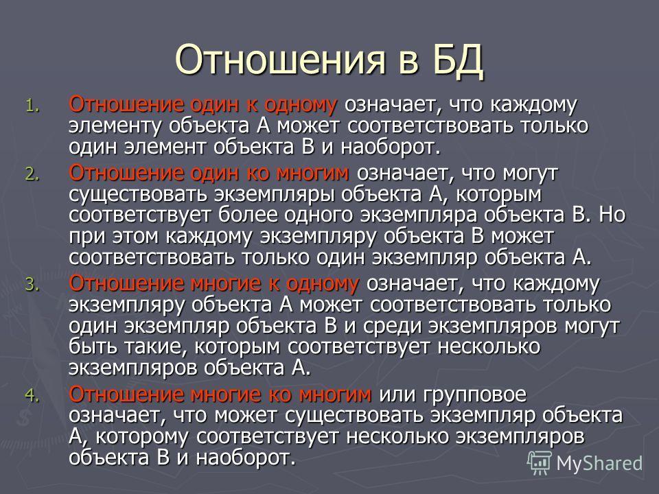 Отношения в БД 1. Отношение один к одному означает, что каждому элементу объекта А может соответствовать только один элемент объекта В и наоборот. 2. Отношение один ко многим означает, что могут существовать экземпляры объекта А, которым соответствуе