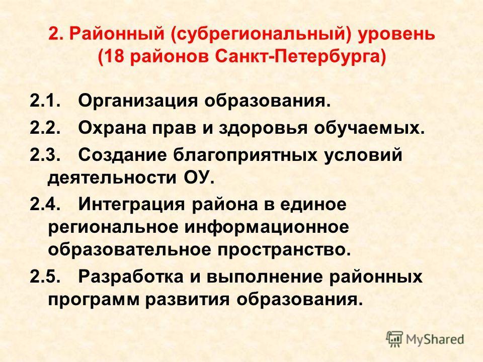 2. Районный (субрегиональный) уровень (18 районов Санкт-Петербурга) 2.1.Организация образования. 2.2.Охрана прав и здоровья обучаемых. 2.3.Создание благоприятных условий деятельности ОУ. 2.4.Интеграция района в единое региональное информационное обра