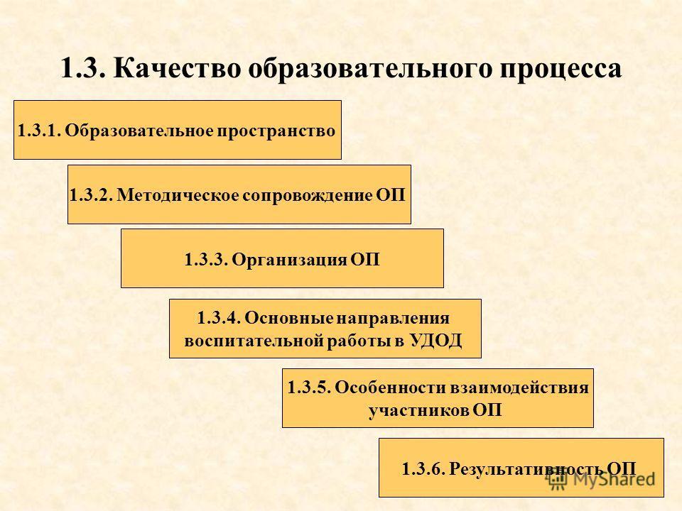 1.3. Качество образовательного процесса 1.3.1. Образовательное пространство 1.3.2. Методическое сопровождение ОП 1.3.3. Организация ОП 1.3.4. Основные направления воспитательной работы в УДОД 1.3.6. Результативность ОП 1.3.5. Особенности взаимодейств