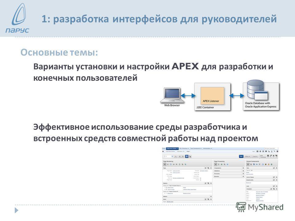 1: разработка интерфейсов для руководителей Основные темы : Варианты установки и настройки APEX для разработки и конечных пользователей Эффективное использование среды разработчика и встроенных средств совместной работы над проектом