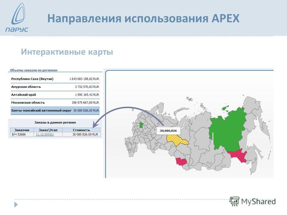 Направления использования APEX Интерактивные карты