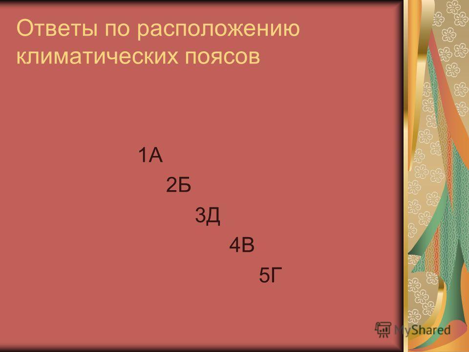 Ответы по расположению климатических поясов 1А 2Б 3Д 4В 5Г