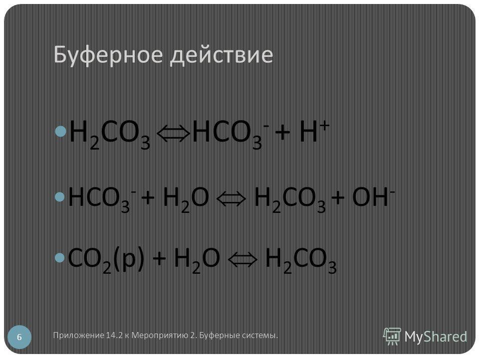 Буферное действие Н 2 СО 3 НСО 3 - + Н + НСО 3 - + Н 2 О Н 2 СО 3 + ОН - СО 2 (р) + Н 2 О Н 2 СО 3 6 Приложение 14.2 к Мероприятию 2. Буферные системы.