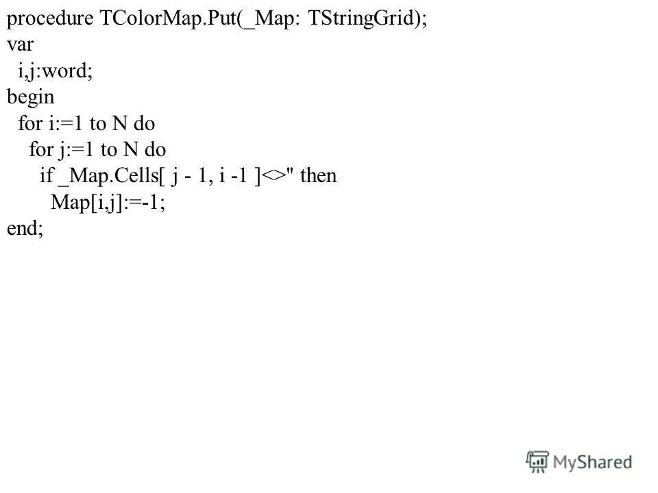 procedure TColorMap.Put(_Map: TStringGrid); var i,j:word; begin for i:=1 to N do for j:=1 to N do if _Map.Cells[ j - 1, i -1 ]'' then Map[i,j]:=-1; end;