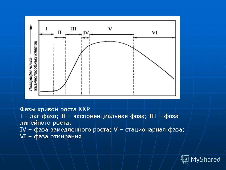Фазы кривой роста ККР I – лаг-фаза; II – экспоненциальная фаза; III – фаза линейного роста; IV – фаза замедленного роста; V – стационарная фаза; VI – фаза отмирания