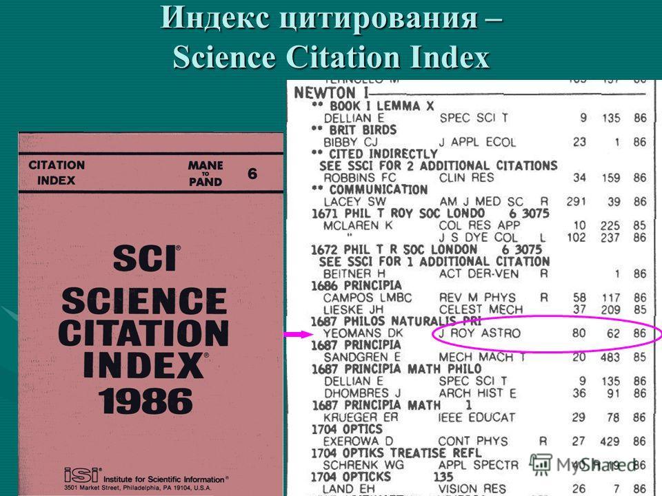 Индекс цитирования – Science Citation Index