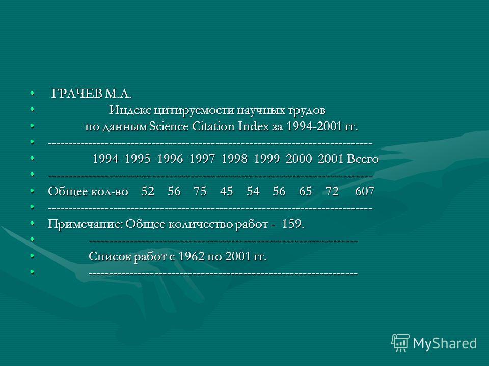 ГРАЧЕВ М.А. ГРАЧЕВ М.А. Индекс цитируемости научных трудов Индекс цитируемости научных трудов по данным Science Citation Index за 1994-2001 гг. по данным Science Citation Index за 1994-2001 гг. --------------------------------------------------------