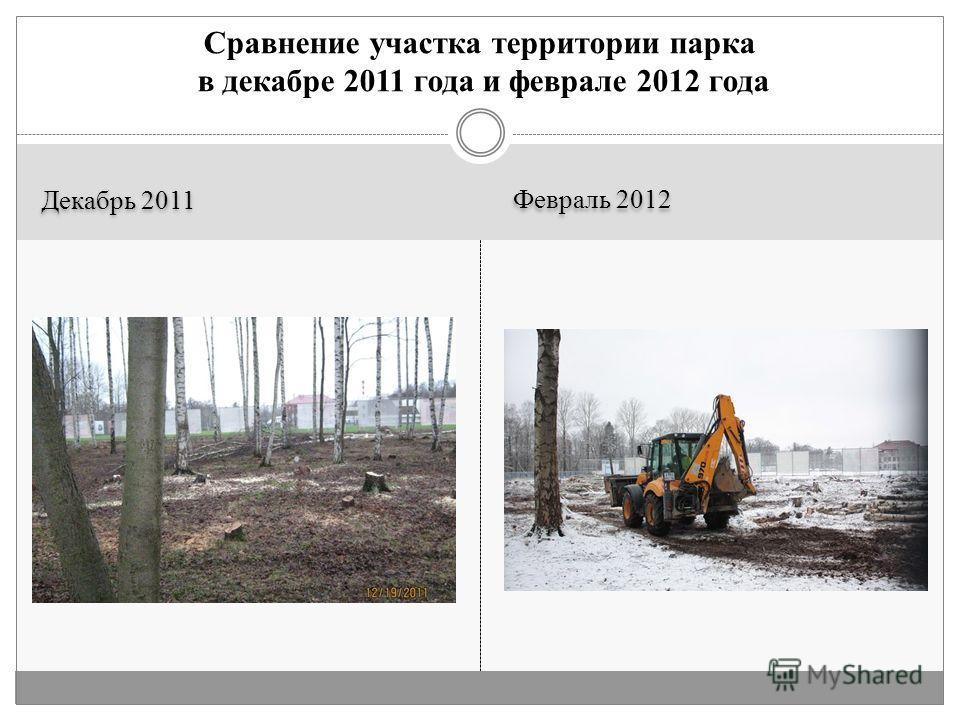 Декабрь 2011 Февраль 2012 Сравнение участка территории парка в декабре 2011 года и феврале 2012 года