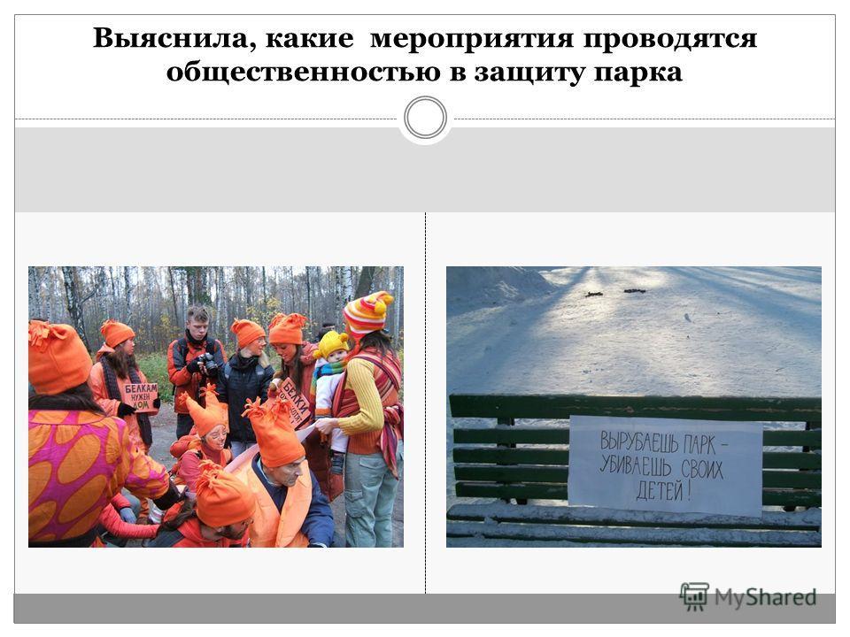 Выяснила, какие мероприятия проводятся общественностью в защиту парка
