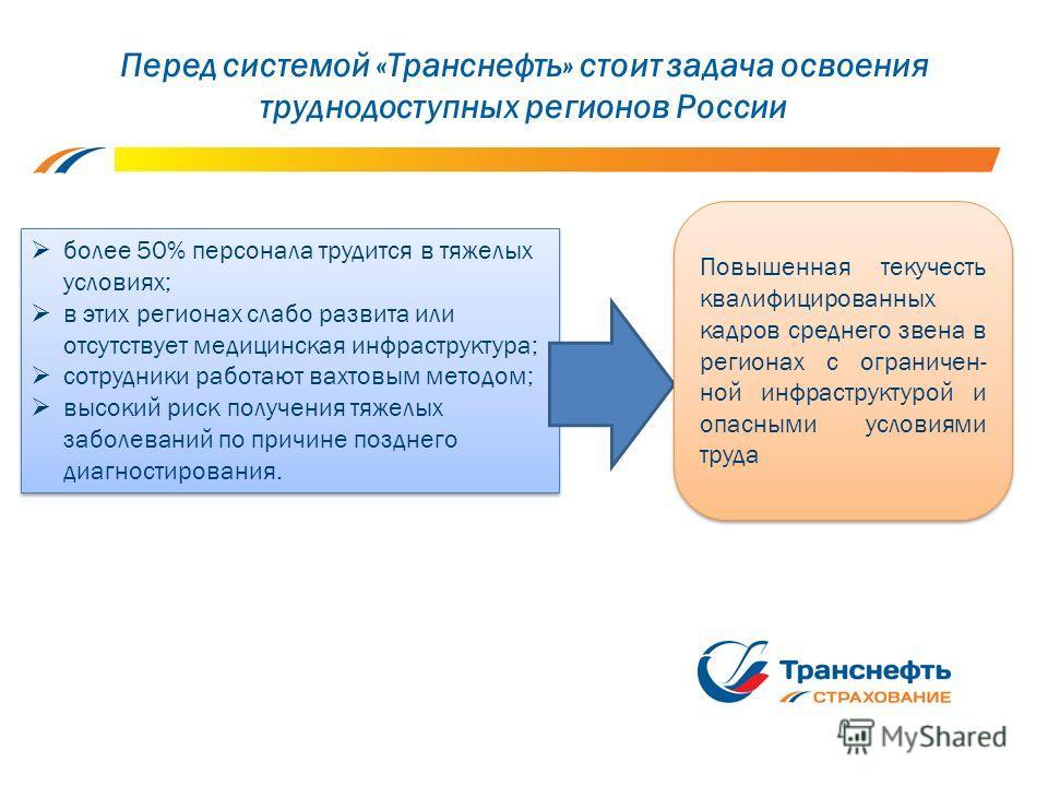 Перед системой «Транснефть» стоит задача освоения труднодоступных регионов России более 50% персонала трудится в тяжелых условиях; в этих регионах слабо развита или отсутствует медицинская инфраструктура; сотрудники работают вахтовым методом; высокий