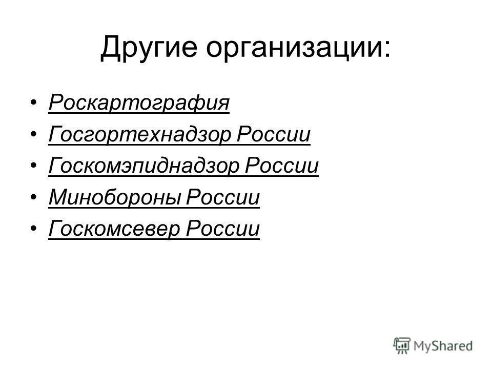 Другие организации: Роскартография Госгортехнадзор России Госкомэпиднадзор России Минобороны России Госкомсевер России