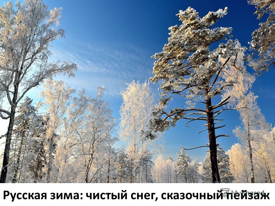 Русская зима: чистый снег, сказочный пейзаж