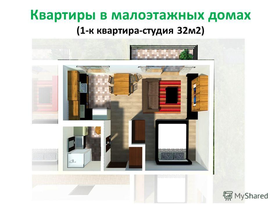 Квартиры в малоэтажных домах (1-к квартира-студия 32м2)