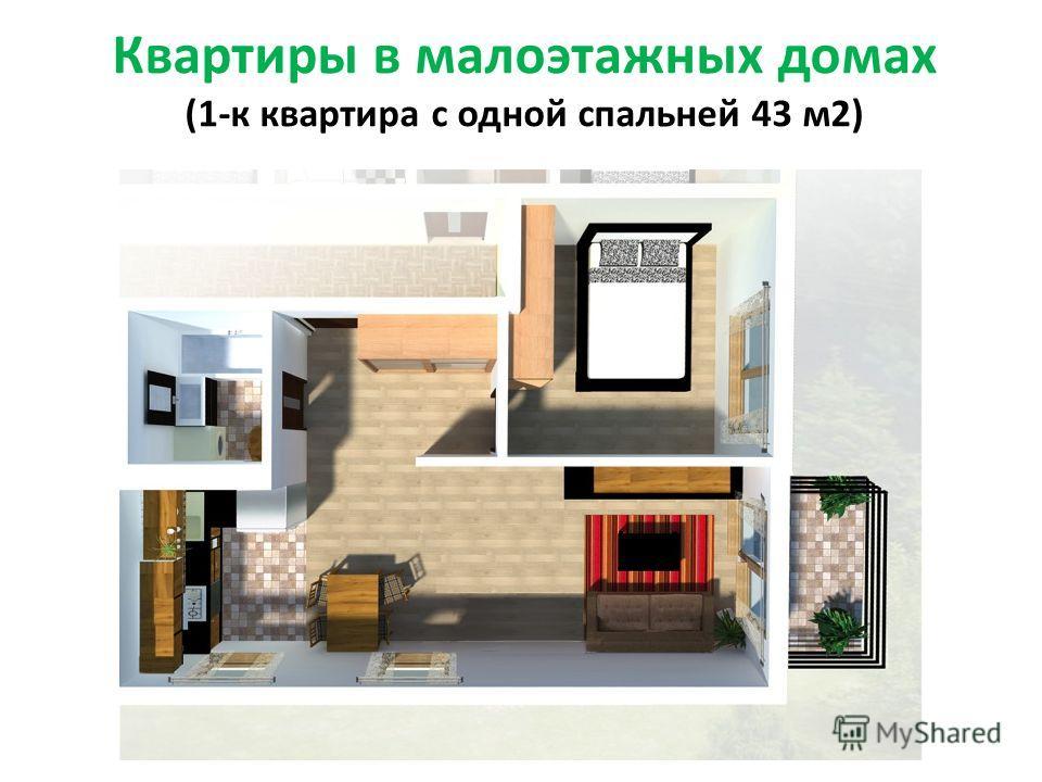 Квартиры в малоэтажных домах (1-к квартира с одной спальней 43 м2)