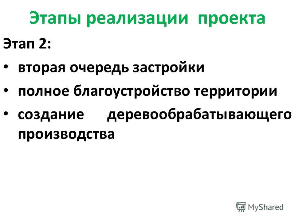 Этапы реализации проекта Этап 2: вторая очередь застройки полное благоустройство территории создание деревообрабатывающего производства