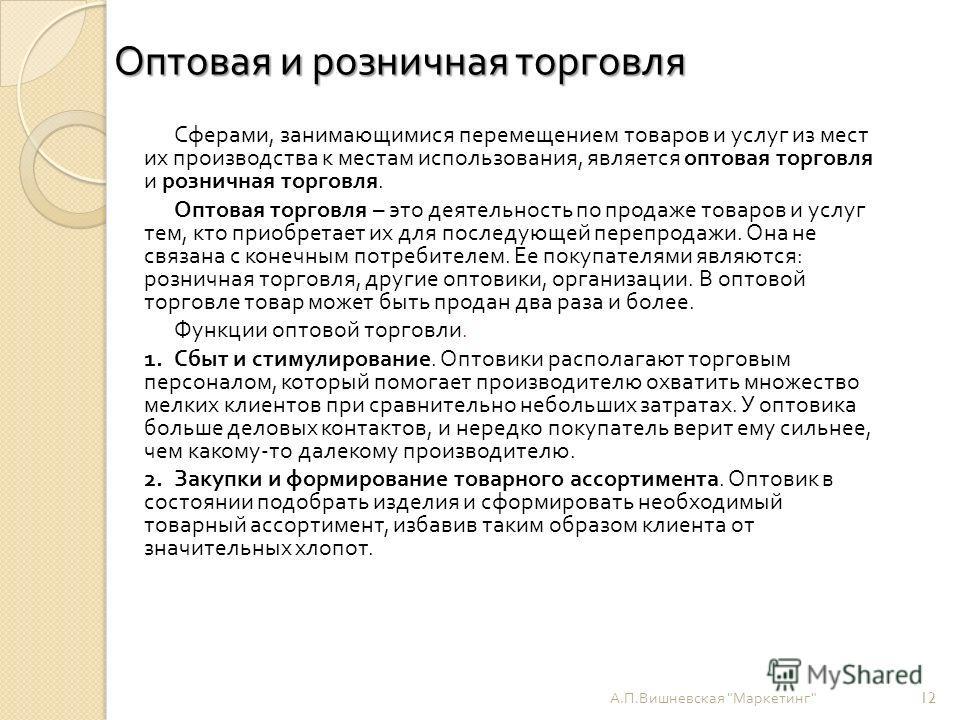 Оптовая и розничная торговля А. П. Вишневская
