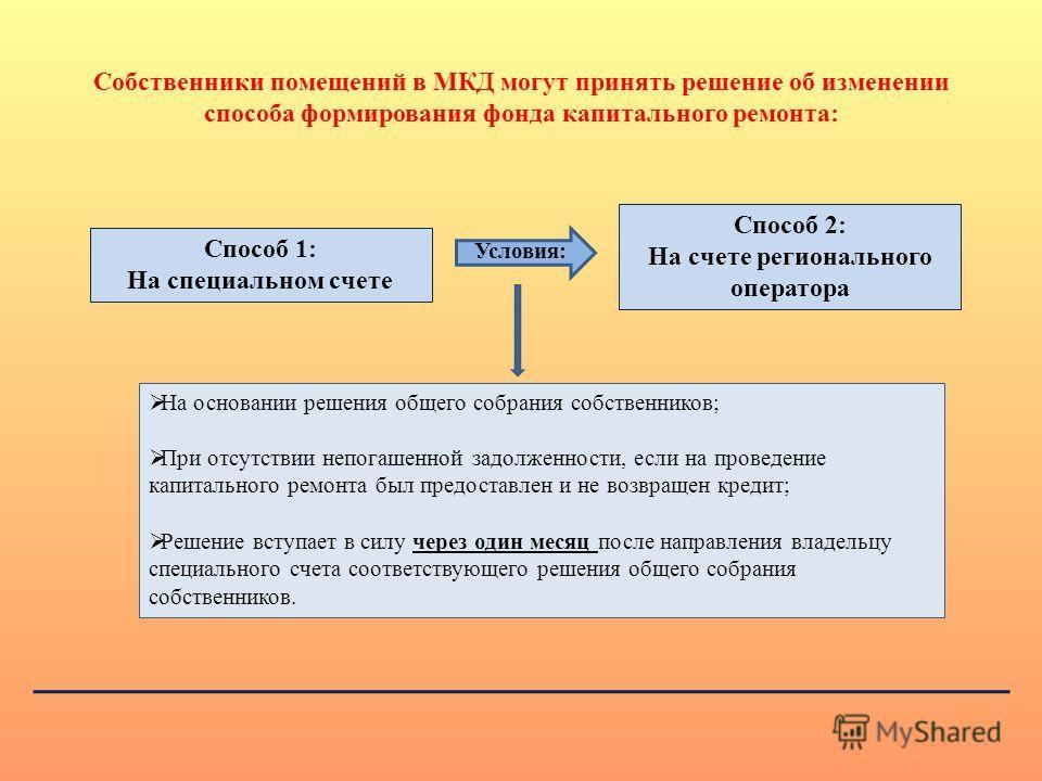 Способ 2: На счете регионального оператора Способ 1: На специальном счете Условия: На основании решения общего собрания собственников; При отсутствии непогашенной задолженности, если на проведение капитального ремонта был предоставлен и не возвращен