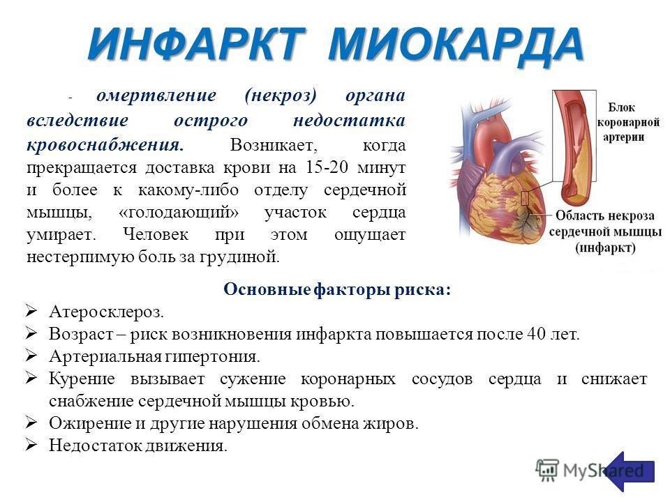 ИНФАРКТ МИОКАРДА - омертвление (некроз) органа вследствие острого недостатка кровоснабжения. Возникает, когда прекращается доставка крови на 15-20 минут и более к какому-либо отделу сердечной мышцы, «голодающий» участок сердца умирает. Человек при эт