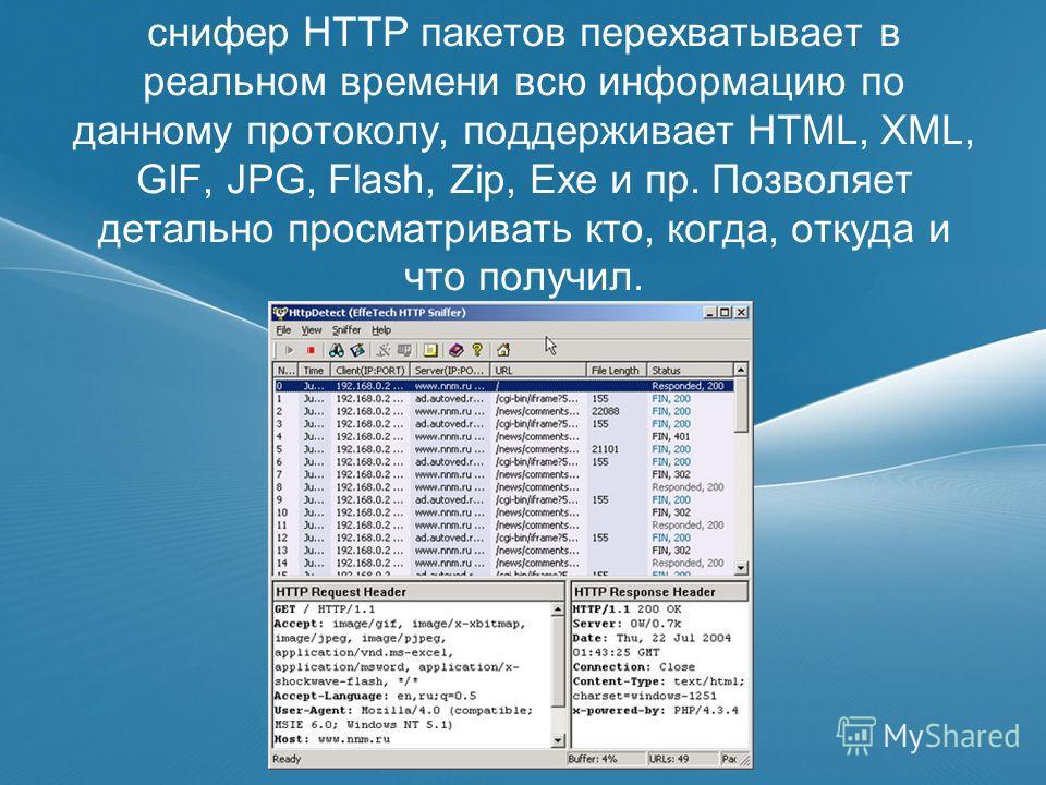 снифер HTTP пакетов перехватывает в реальном времени всю информацию по данному протоколу, поддерживает HTML, XML, GIF, JPG, Flash, Zip, Exe и пр. Позволяет детально просматривать кто, когда, откуда и что получил.