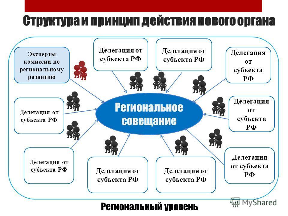Структура и принцип действия нового органа Делегация от субъекта РФ Эксперты комиссии по региональному развитию Региональное совещание Региональный уровень