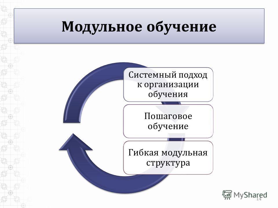 Модульное обучение Системный подход к организации обучения Пошаговое обучение Гибкая модульная структура 14