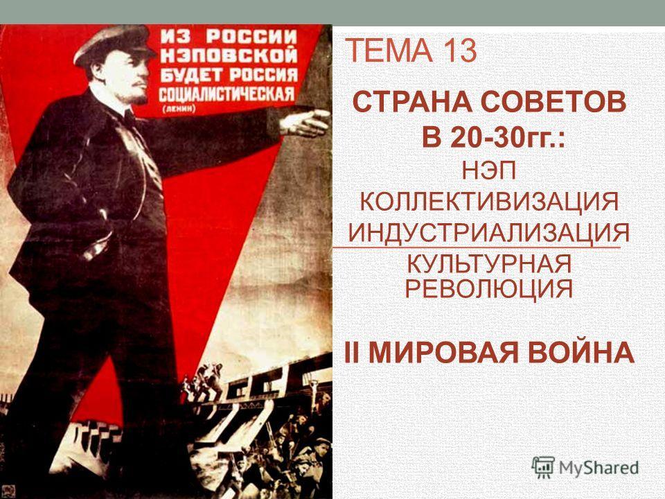 ТЕМА 13 СТРАНА СОВЕТОВ В 20-30гг.: НЭП КОЛЛЕКТИВИЗАЦИЯ ИНДУСТРИАЛИЗАЦИЯ КУЛЬТУРНАЯ РЕВОЛЮЦИЯ II МИРОВАЯ ВОЙНА