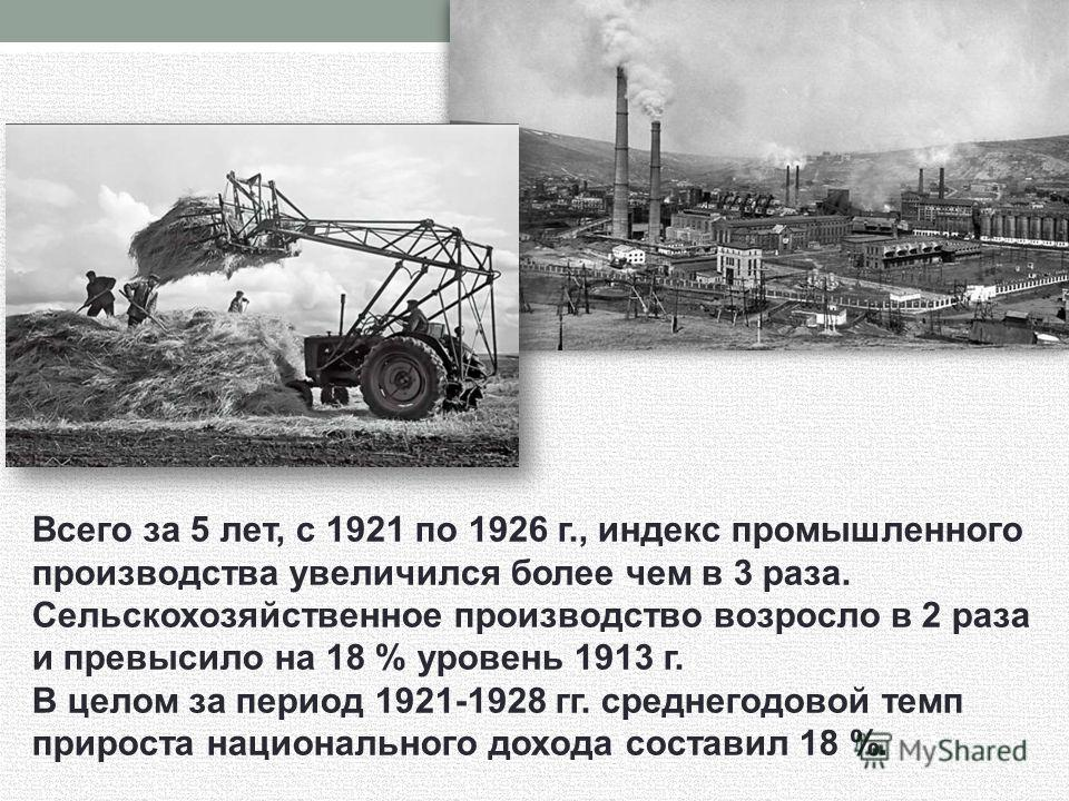 Всего за 5 лет, с 1921 по 1926 г., индекс промышленного производства увеличился более чем в 3 раза. Сельскохозяйственное производство возросло в 2 раза и превысило на 18 % уровень 1913 г. В целом за период 1921-1928 гг. среднегодовой темп прироста на