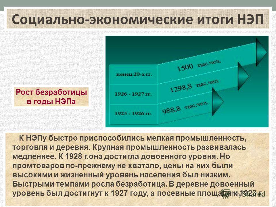 К НЭПу быстро приспособились мелкая промышленность, торговля и деревня. Крупная промышленность развивалась медленнее. К 1928 г.она достигла довоенного уровня. Но промтоваров по-прежнему не хватало, цены на них были высокими и жизненный уровень населе