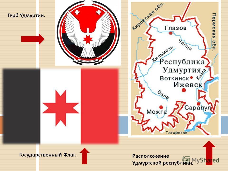 Государственный Флаг. Герб Удмуртии. Расположение Удмуртской республики.