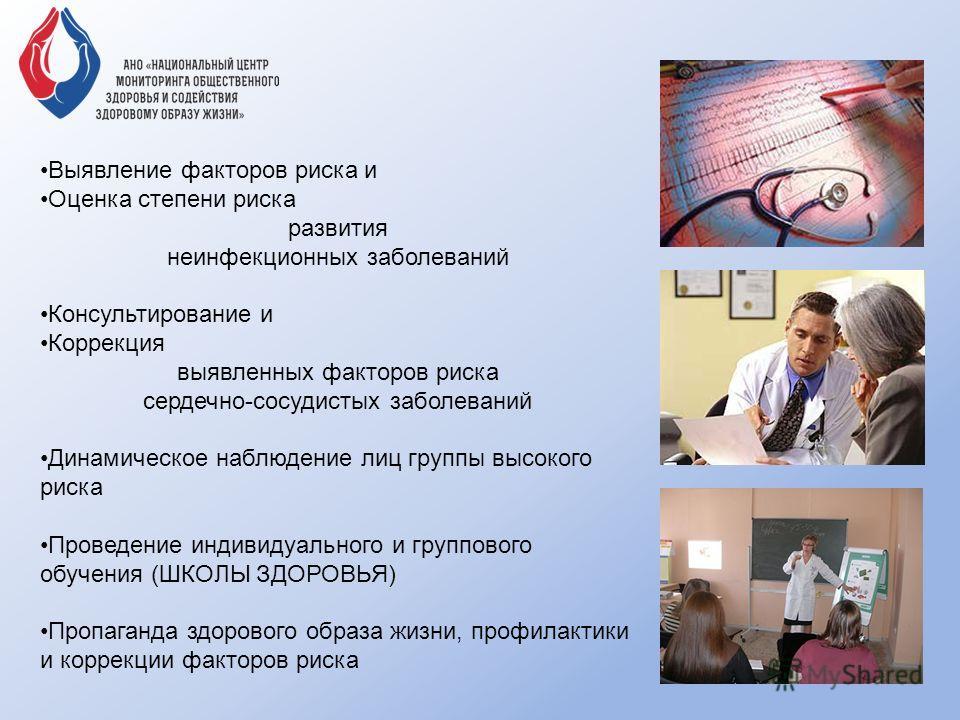 Выявление факторов риска и Оценка степени риска развития неинфекционных заболеваний Консультирование и Коррекция выявленных факторов риска сердечно-сосудистых заболеваний Динамическое наблюдение лиц группы высокого риска Проведение индивидуального и