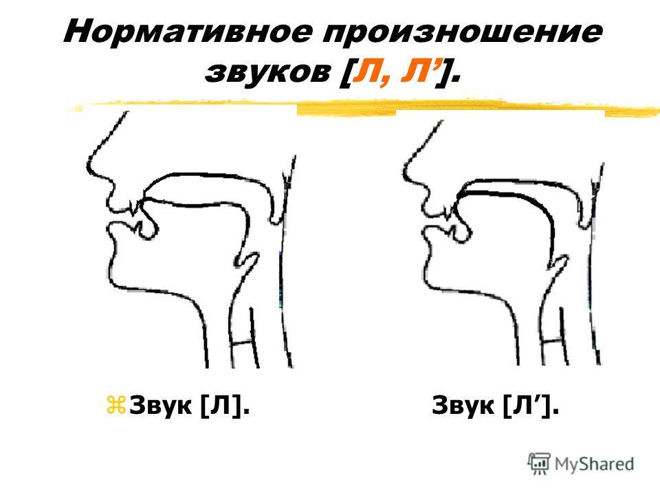 Нормативное произношение звуков [Л, Л]. zЗвук [Л]. Звук [Л].