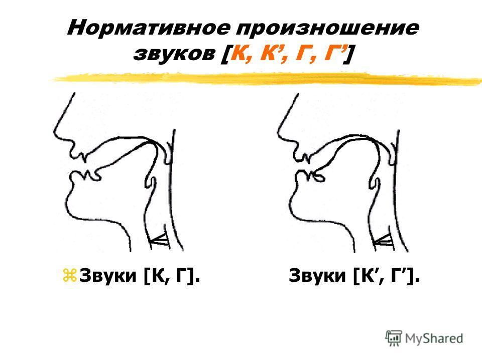 Нормативное произношение звуков [К, К, Г, Г] zЗвуки [К, Г]. Звуки [К, Г].
