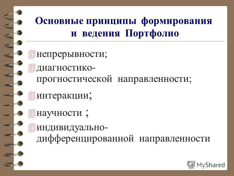 Основные принципы формирования и ведения Портфолио 4 непрерывности; 4 диагностико- прогностической направленности; 4 интеракции ; 4 научности ; 4 индивидуально- дифференцированной направленности