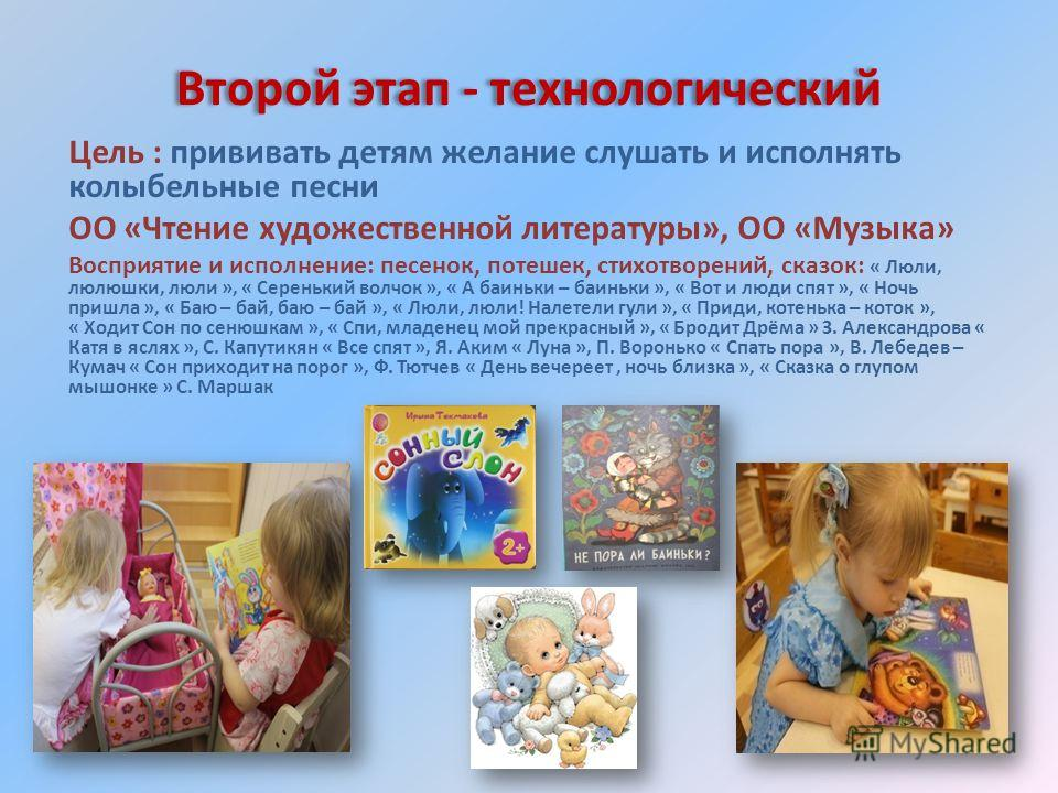Второй этап - технологический Цель : прививать детям желание слушать и исполнять колыбельные песни ОО «Чтение художественной литературы», ОО «Музыка» Восприятие и исполнение: песенок, потешек, стихотворений, сказок: « Люли, люлюшки, люли », « Сереньк